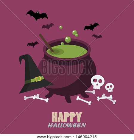 Happy halloween flat style. Greeting card vector illustration