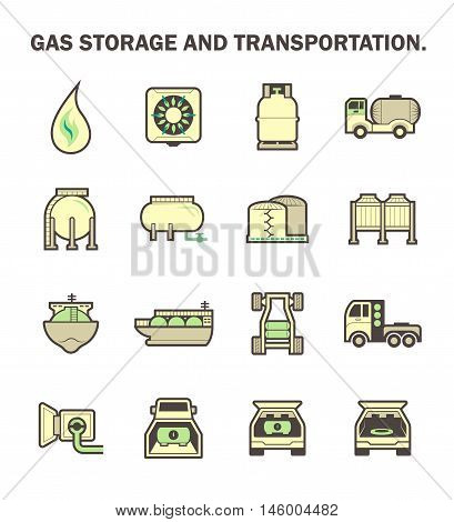 Gas storage and transportation icon set design.