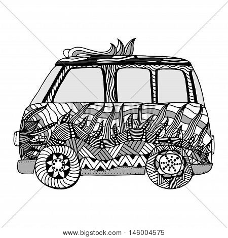 Decorated Old bus. Coloring page with high details. Made by trace from sketch. vector illustration.