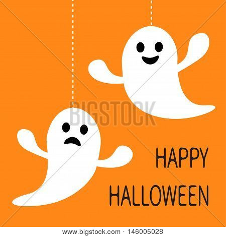 Hanging ghost Dash line Smiling and sad face. Happy Halloween. Greeting card. Cute cartoon character. Scary spirit. Baby collection. Orange background. Flat design. Vector illustration