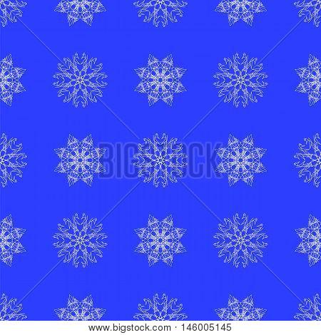 White Snowflake Seamless Pattern on Blue. Christmas Symmetric Background