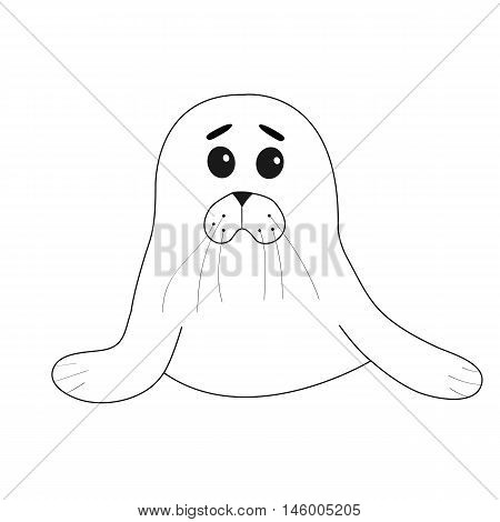Cute seal pup baby harp. Cartoon contour character. White background. Isolated. Flat design. Vector illustration