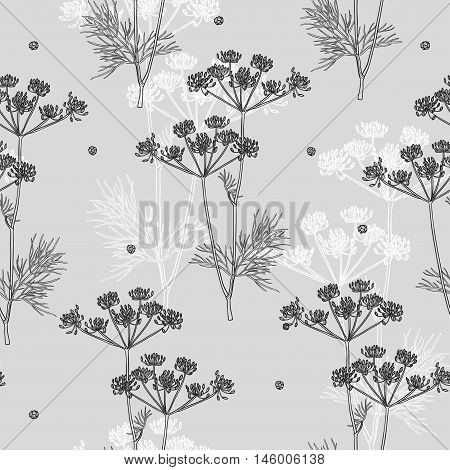 Vector seamless texture with dill and black pepper. Natural spices. Kitchen herbs and spice. Vintage style. Hand drawn.