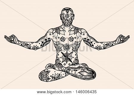 Hand drawn vector Yoga lotus pose with floral elements in Black, beige color doodle style. Pattern for coloring book