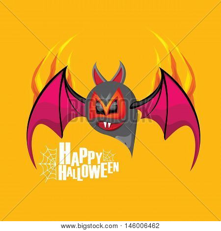 Happy halloween vector kids funny background with cartoon funky bat