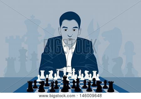 Man playing chess, vector illustration, player concentrated on the chessboard