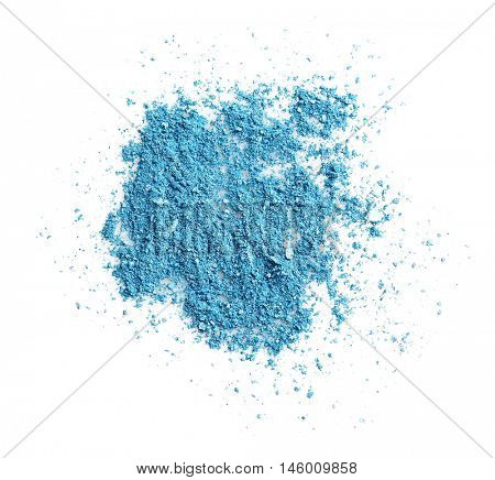 Blue eye shadow isolated on white