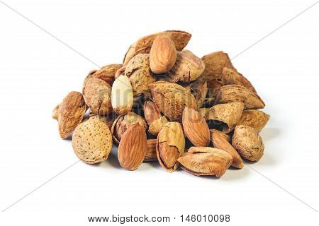 Roasted Almond nut in shell and shelled isolated on white background