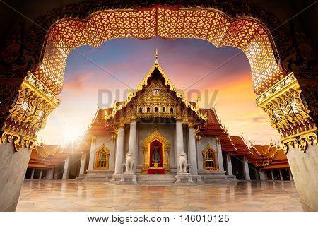 The marble temple wat benchamabopitr dusitvanaram Bangkok-Thailand