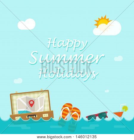 Happy summer holiday vector banner, flat cartoon traveler things floating on sea waves, concept of travel journey, trip poster, tourism illustration,