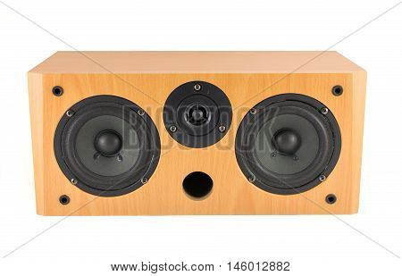 Wooden Stereo Speaker On White