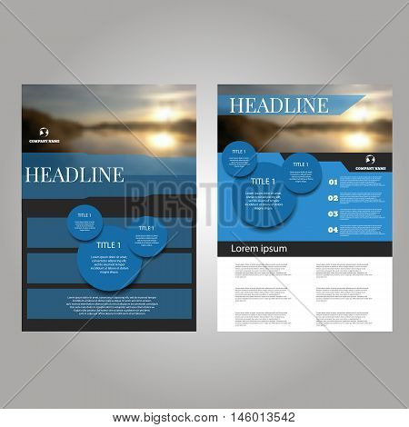 Blue Vector Annual Report Leaflet Brochure Flyer Template Design, Book Cover Layout Design Abstract