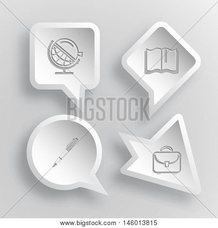 4 images: globe and loupe, book, ink pen and pencil, briefcase. Education set. Paper stickers. Vector illustration icons.