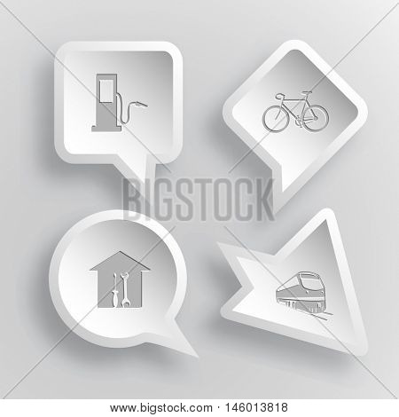 4 images: fueling station, bicycle, workshop, train. Transport set. Paper stickers. Vector illustration icons.