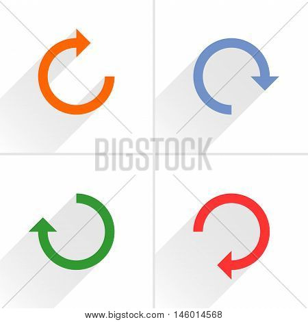 4 arrow icon refresh rotation reset repeat reload sign set 02. Orange blue green red colors pictogram with gray long shadow on white background. Simple flat style vector illustration
