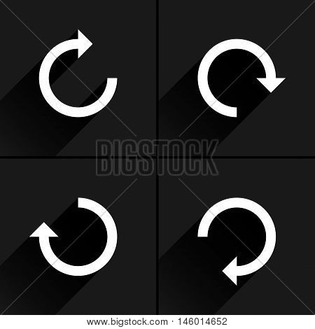 4 arrow icon refresh rotation reset repeat reload sign set 01. White pictogram with black long shadow on gray background. Simple plain solid flat style. Vector illustration web design 8 eps