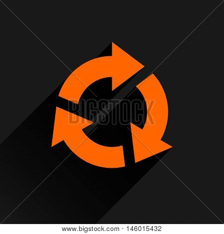 Orange arrow icon reload refresh rotation reset repeat sign. Web pictogram with long shadow on black background. Simple solid plain flat style. Vector illustration graphic design 8 eps