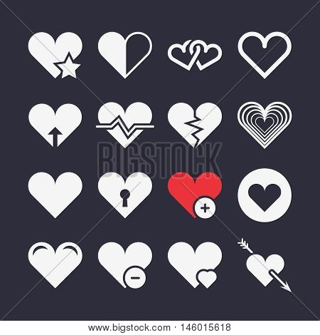 Abstract heart vector icons. Arrow in heart, love and heartbeat illustration