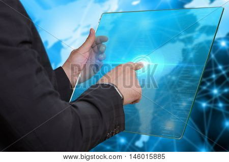 Internet. Business. Technology Concept. Businessman Presses A Button  On The Virtual Screen Tablet F