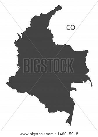 Colombia grey map isolated vector high res