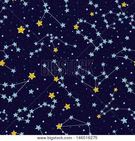 Seamless pattern with cartoon zodiac constellations in starry sky, vector illustration. Zodiac constellations in space seamless background