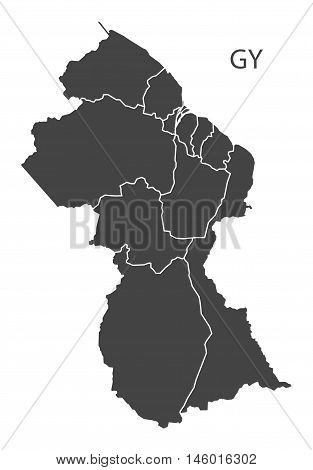 Guyana grey map with regions isolated vector high res