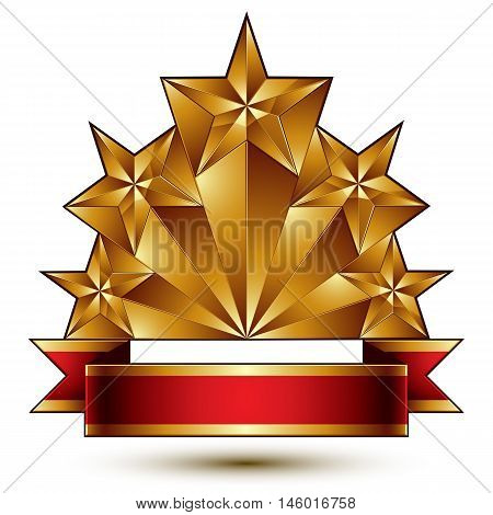 Glamorous vector template with pentagonal golden stars best for use in web and graphic design.