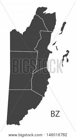 Belize grey map with regions isolated vector high res