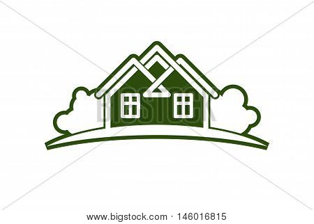Abstract vector illustration of country houses with horizon line. Simple buildings on nature background graphic emblem for advertising and real estate.