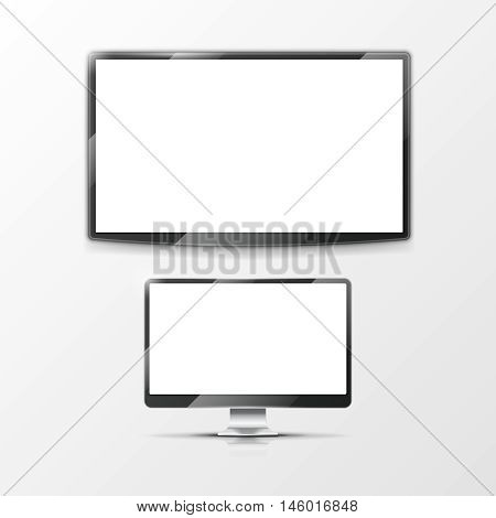 Lcd flat screen monitor, computer display and smart TV screen. Mockups flat screen set. Vector illustration