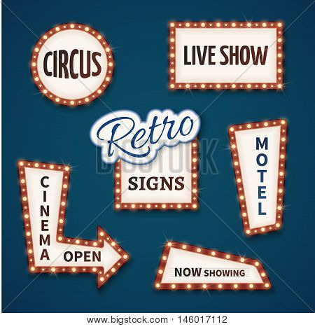 Retro neon bulb signs for cinema and casino. Live show, open, circus, now showing, motel banners. Vector illustration