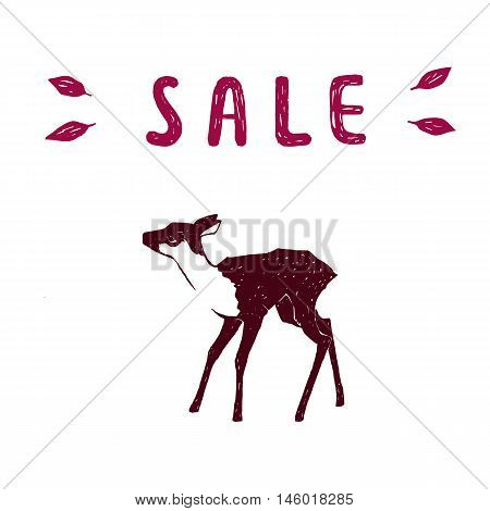 Vector illustration. One color deer isolated on white background