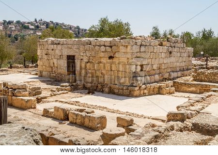 Ruins of an ancient synagogue in the archaeological park of the Biblical Shiloh in Samaria, Israel
