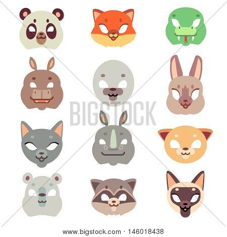 Carnival animals face vector masks in flat style. Masquerade decoration icon illustration