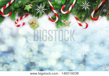Christmas framework with fir tree twigs