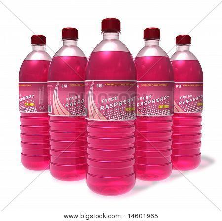 Set of raspberry drinks in plastic bottles
