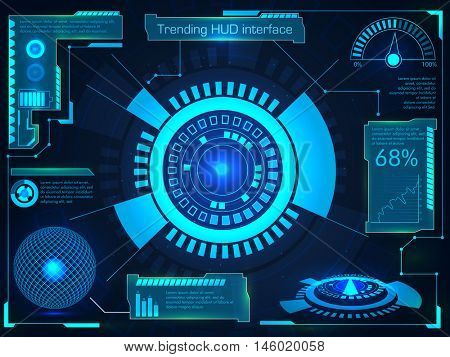 Futuristic Head Up Display for business apps, infographic interface screen, analysis statistical graphs presentation.