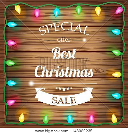 Christmas sale on wooden background with christmas lights. Vector illustration