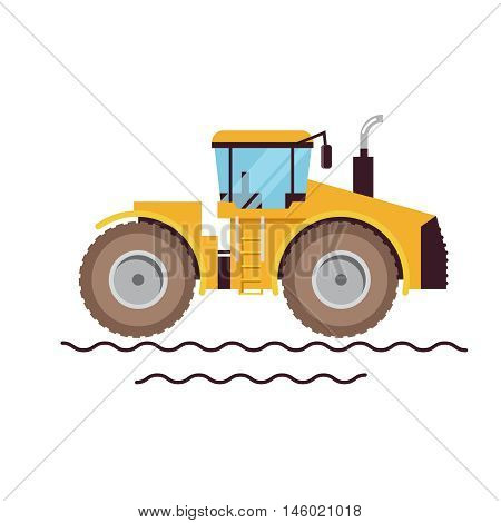 Vector Illustration Farm Equipment Tractor On White Background. Big Car. Agricultural machinery.