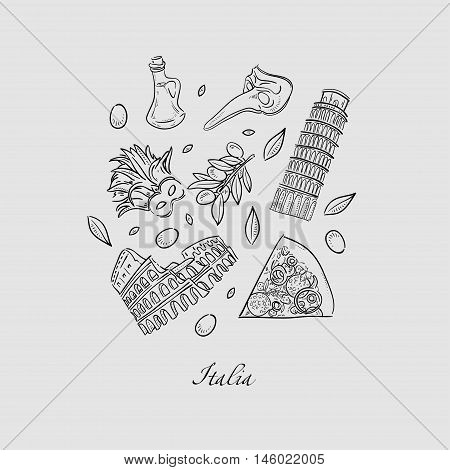 Set of Italy icons doodle hand drawn vector illustration