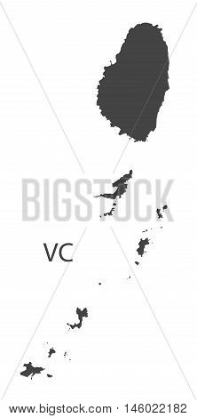St, Vincent and the Grenadines grey map isolated vector high res