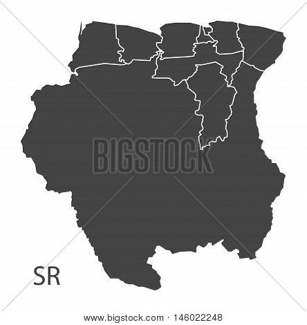 Suriname grey map with regions isolated vector high res