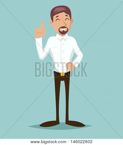 Support Idea Cartoon Businessman Character Solution Symbol Retro Vintage Design Vector Illustration
