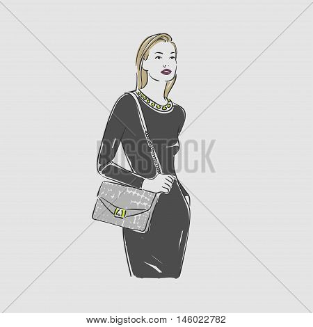 Beautiful Young Women In A Fashion Evening Dark Dress With Bag. Vector Illustration