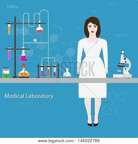 medical laboratory scientist. Medical Laboratory Conceptual. Vector Illustration.