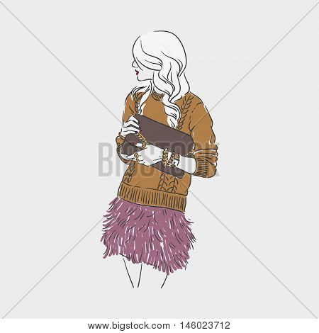 Beautiful Young Women In A Fashion Clotes With Bag In Hads. Vector Hand Drawn Illustration.