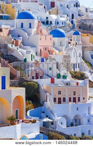 Vertical panorama of Oia town in Santorini Greece
