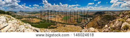 Panoramic view from Jumping Mountain near Nazareth. North of Israel. Jezreel Valley.