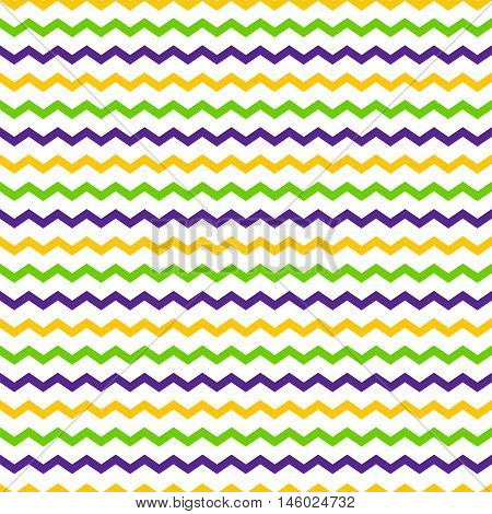 Seamless pattern of multicolored zigzag lines on a white background.