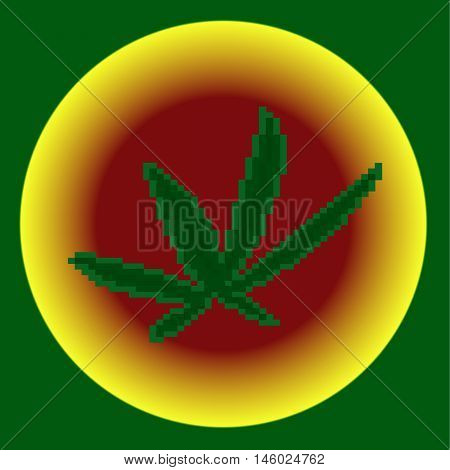 Pixel icon. Pixel marihuana on the green, yellow red and background.